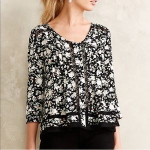 Anthropologie Maeve Celyn Floral Lace Peasant Top
